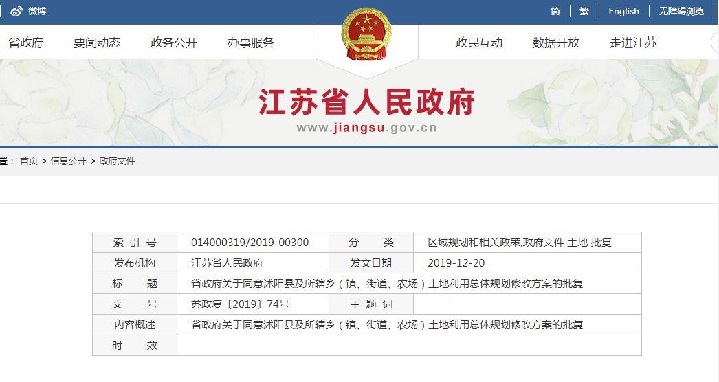 省政府发文!沭阳县土地利用总体规划方案调整