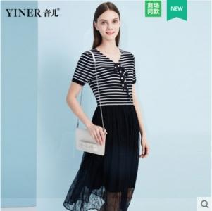影儿YINER音儿2019夏季新款条纹拼接蕾丝假两件连衣裙8C39206320