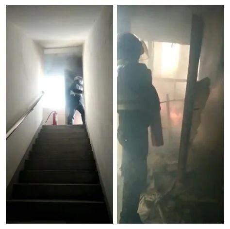 沭阳蓝天公寓失火!2名交警一口气跑到19楼,连用36个灭火器控制火势