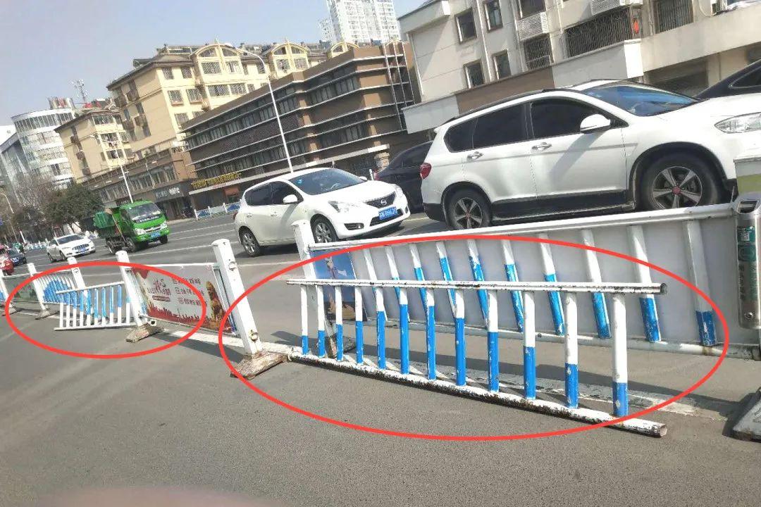 沭阳多条道路交通护栏破损