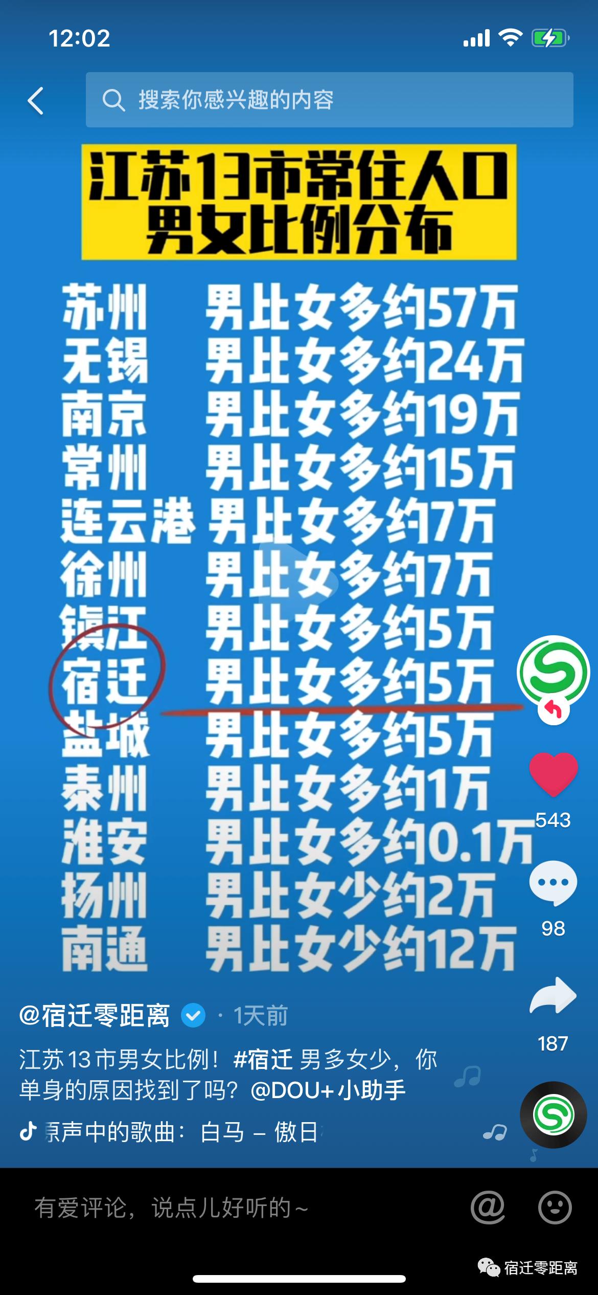 沭阳单身男子多的原因找到了!江苏13市男女比例公布!